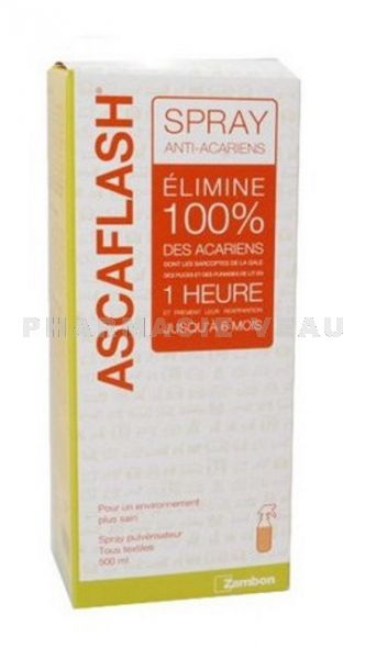 ASCAFLASH Spray anti acariens gale, puces, punaises de lit (500 ml)