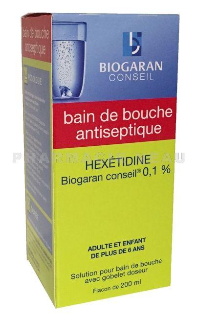 Hex tidine bain de bouche 200 ml biogaran for Bain de bouche antiseptique maison