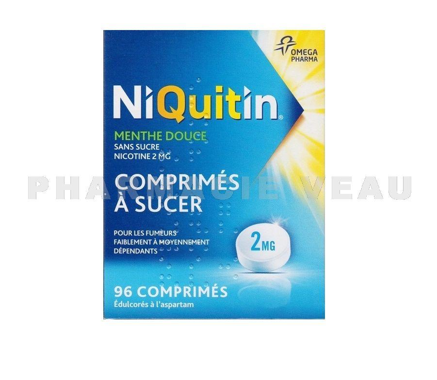 niquitin 2 mg menthe douce bo tes de 96 comprim s sucer sans sucre. Black Bedroom Furniture Sets. Home Design Ideas