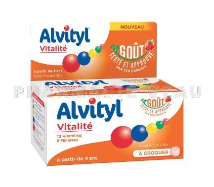 2fdaf92c82f ALVITYL Vitalité Goût Fraise Boite de 30 comprimés à croquer