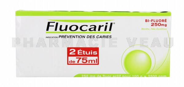 FLUOCARIL Pâte Dentifrice Bi-fluoré 250 mg Menthe (LOT 2 x 75 ml)