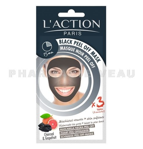 ACTION PARIS Masque Noir Peel Off au Charbon (3 Sachets)