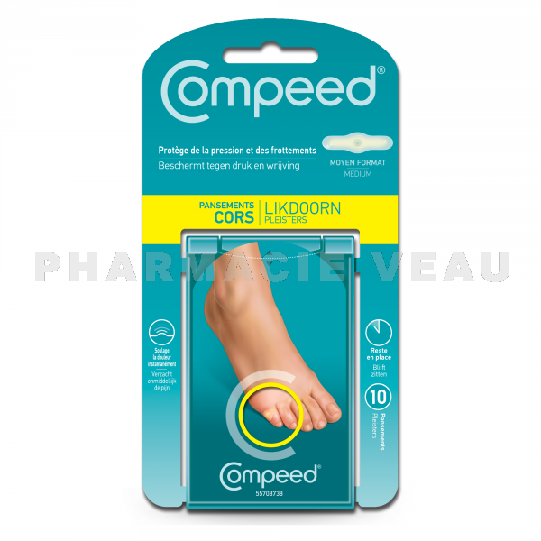 COMPEED Cors Pansement Protection (10 pansements) - Format Moyen