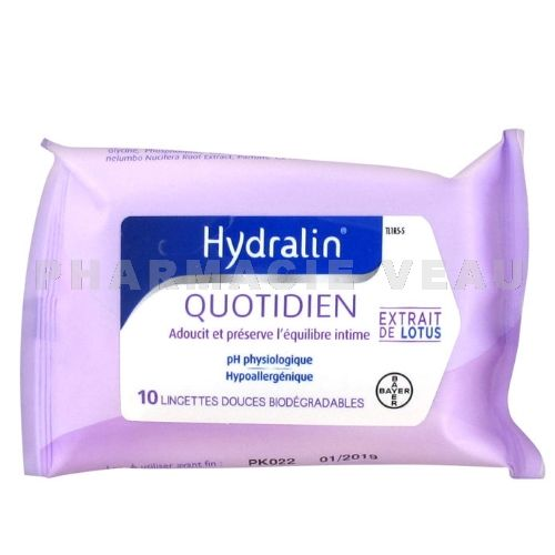 HYDRALIN Quotidien Lingettes Intimes (10 lingettes)