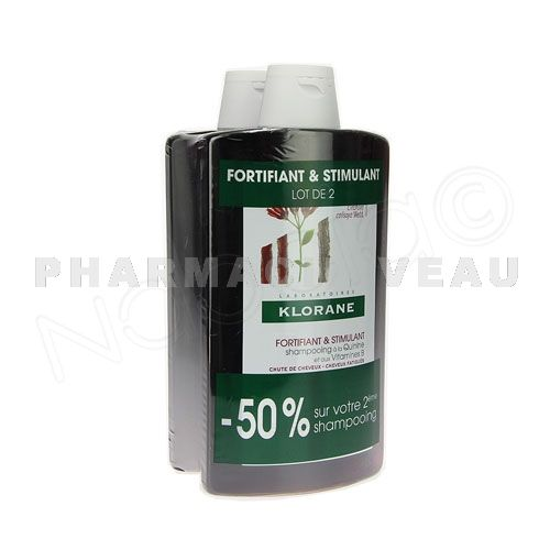 KLORANE QUININE Shampooing Fortifiant Chute des cheveux (Lot 2 x400ml) PROMO