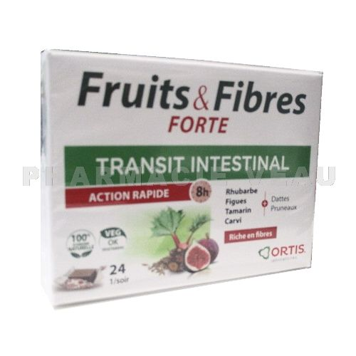 ORTIS FRUITS ET FIBRES FORTE Transit Intestinal Action rapide (24 cubes)
