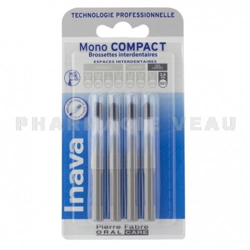INAVA 4 Brossettes interdentaires Mono Compact 2.6mm ISO7 GRIS