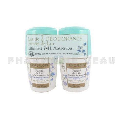 SANOFLORE Déodorant 24H Pureté de Lin BIO (LOT 2 roll on x 50ml) PROMO