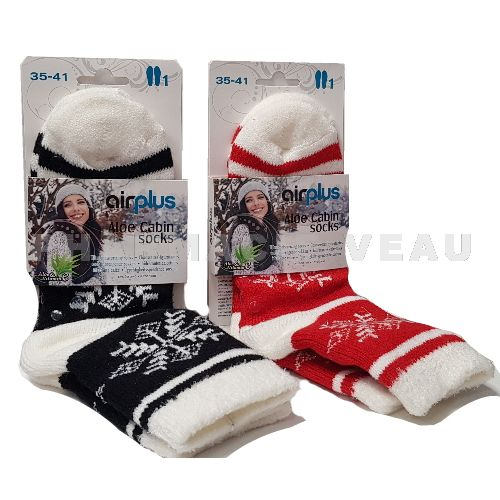 AIRPLUS Chaussettes hydratantes Flocons Noirs ou Rouges (Taille 35-41)