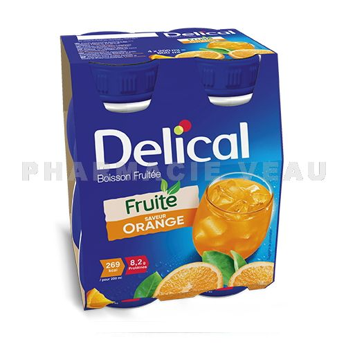 DELICAL Boisson Fruitée Sans lactose ORANGE (4 x 200ml)