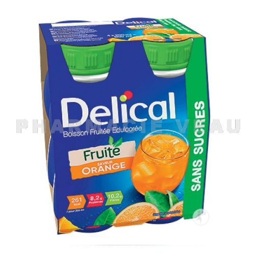 DELICAL Boisson Fruitée Sans Sucres ORANGE (4 x 200ml)