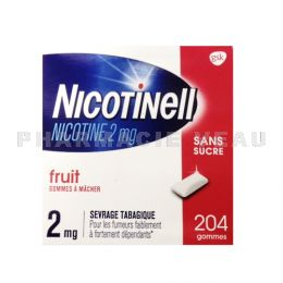 NICOTINELL 2 mg FRUIT sans sucre 204 gommes