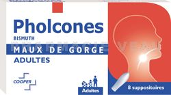 PHOLCONES Bismuth Suppositoires Adultes Boite de 8