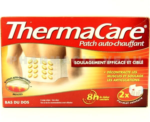 THERMACARE 8H Patch Auto-chauffant Bas du Dos (X2 patchs)