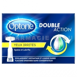 OPTONE DOUBLE ACTION Gouttes oculaires Yeux irrités 10 unidoses