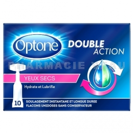 OPTONE DOUBLE ACTION Gouttes oculaires Yeux Secs 10 unidoses