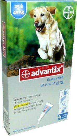 ADVANTIX Grand Chien de plus de 25kg 4 pipettes