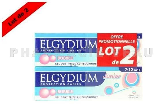 ELGYDIUM Junior Bubble Gum Lot de 2 tubes 7 - 12 ans