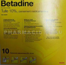 a1e498a915e BETADINE 10% TULLE Boite de 10 pansements médicamenteux 10cm X 10cm