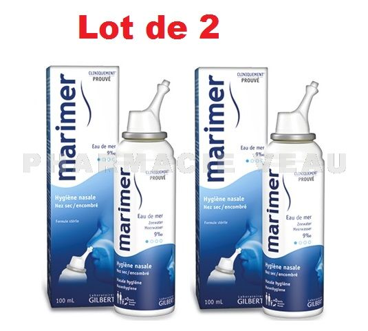 MARIMER Spray nasal Eau de Mer Isotonique Hygiène Nasale (LOT 2 x 100 ml)
